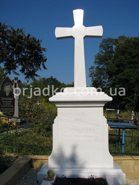 Мраморный крестик Новомосковск памятник на могилку Кизел